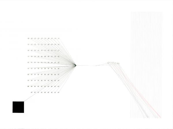 La poétique de l'éther, #2, feutre pigmentaire, transfert, pigments et sang sur papier coton, 56cm× 76cm, 2016©Haythem Zakaria