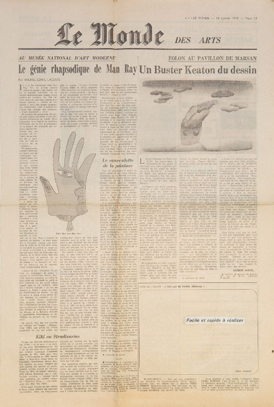 Fred-Forest-Space-Media-1972-Extrait-du-journal-Le-Monde-et-collage-50-x-335-cm-19.7-x-13.2-in.-Courtesy-Galerie-pact