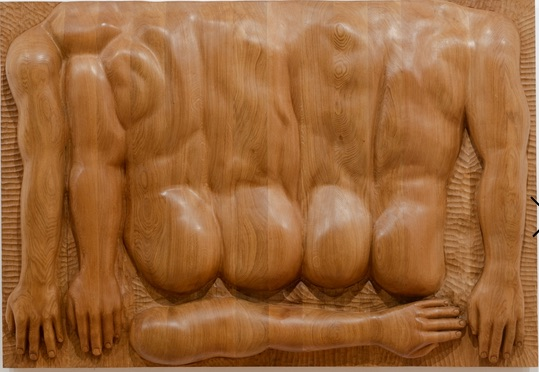 Oak relief with body fragments, 2018.Courtesy the artists; C L E A R I N G, New York/Brussels; Jan Kaps, Cologne; Loevenbruck, Paris