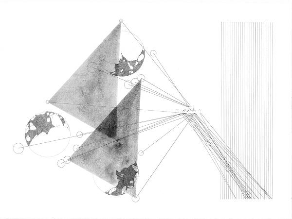 La poétique de l'éther, #5, feutre pigmentaire, transfert, poudre de graphite et encre sur papier coton, 56cm× 76cm ©Haythem Zakaria