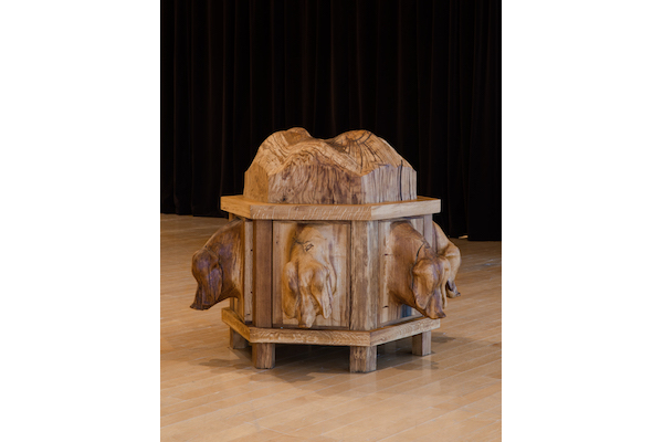 Oak dresser with pigs, 2019. Courtesy the artists; C L E A R I N G, New York/Brussels; Jan Kaps, Cologne; Loevenbruck, Paris